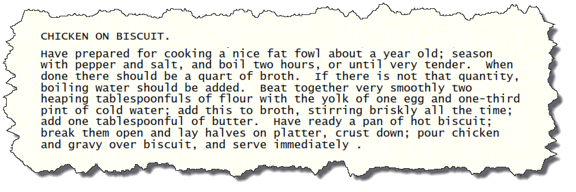 Chicken on Biscuit Vintage Recipes Clipping