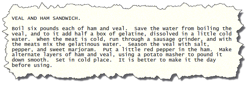 Veal and Ham Sandwich Vintage Recipe Clipping